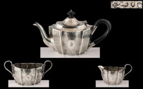 Victorian Period Fine Quality Bachelors 3 Piece Sterling Silver Matched Tea Set of Wonderful Design