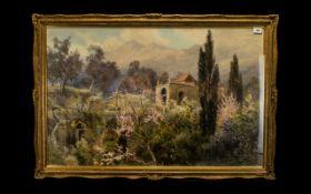 ALBERT STEVENS (FL. 1872 - 1902)'The Old Chapel of Santa Maria, Mentone', signed, bears