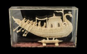 Unusual Well Carved Cork Thai Royal Barge - Boat in Case,