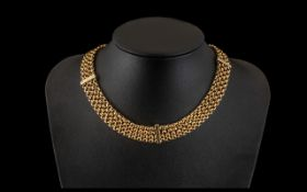 Antique Period Superb 9ct Gold Muff Chain Converted to a 4 Strand Necklace / Choker. Marked 9ct.