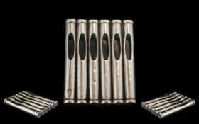 1920's Unusual and Scarce Sterling Silver Cigarette Holder for Six Cigarettes,