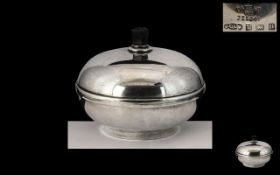 Art Deco Period Circular Sterling Silver Lidded Bowl with Bake-lite Interior and Finial.