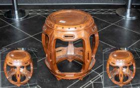 Chinese Hardwood Barrel Shaped Stool wit