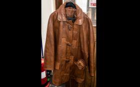 Ladies Tan Leather Jacket with detachabl