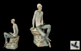 Lladro Handpainted Porcelain Tall Figure