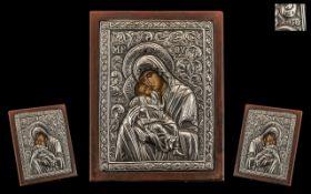 Russian / Greek Stamped Silver Embossed