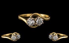 18ct Diamond Crossover Ring. Yellow gol