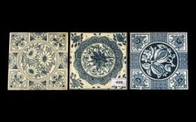 Three Blue and White Printed Tiles by Minton, Hollins & Co,