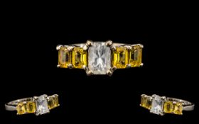 18ct White Gold Attractive and Pleasing Yellow and White Sapphire Set Dress Ring,
