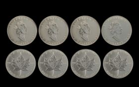 Elizabeth II - Maple Leaves Canada Five Dollar Silver Coins. All 1 oz Fine Silver .999 Purity.