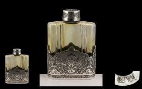 Early to Mid 20th Century Superb Quality Ornate Silver and Ribbed Glass Scent Bottle.