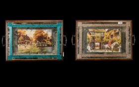 Pair of Walnut Veneer Mirrored Tea Trays, c1930s, with hunting prints to the centres,