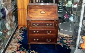 Small Edwardian Inlaid Mahogany Bureau with a fall-down front and fitted interior;