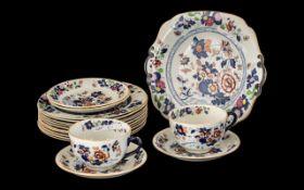 Mason's Ironstone Part Dinner Set, Patent Ironstone China in a' Rose and Urn' Imari style pattern,