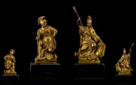 Pair of Antique Gilt Bronze Figures of Fine Quality depicting seated figures of Britannia and a