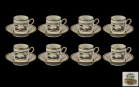 Richard Ginori Porcelain Comprising 8 Coffee Cans And Saucers,