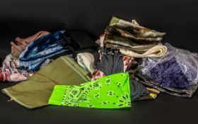 Collection of 19 Scarves and Pashmina's Comprising of Horse, Butterflies, Birds, Sailboats, Zebra,