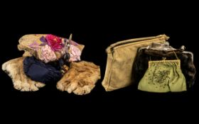 Collection of Vintage Textiles & Collectibles comprising hat pins in a decorative holder; pair of