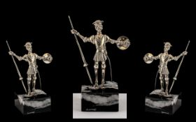 Danish Small Silver Sculpture Figure of Don Quixote of Small Proportions, Raised on a Marble Style