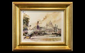 Watercolour by Peter Shackleton depicting two ladies in the foreground of the Grand Canal, Venice.