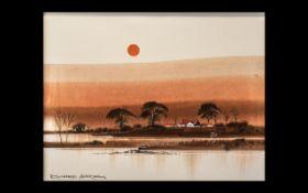 Landscape by Richard Akerman (1942-2005) oil on canvas,