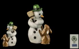 Royal Copenhagen Hand Painted Bone China Figure Group ' Snowman ' With Orange Carrot like Nose,