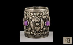 Egyptian 1950's Repousse Worked Hand Crafted Small Silver Pot, Inlaid with Cabochon Cut Amethyst