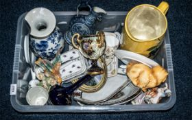 Box of Assorted China & Pottery comprising large yellow jug with fruit pattern, butter dish,