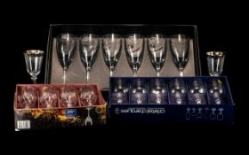 "Boxed Set of Bohemia 1845 Lead Crystal Whiskey Glasses four glasses 4"" tall Whiskey tumblers with"