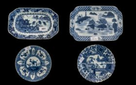 Four Misc. Oriental Blue & White Pottery Plates and tureen stands.