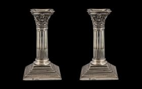 Edwardian Period Fine Pair of Sterling Silver Classical Corinthian Column Candlesticks on Raised