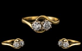 18ct Diamond Crossover Ring. Yellow gold shank, each stone approx. 0.25 ct. Ring size O.