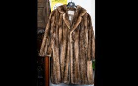 Ladies Brown Mink Coat by David Jackson of Eastbourne, full length, side slit pockets, fully lined