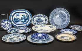 Selection of Antique Pottery Plates & Dishes - Willow Pattern, Nant-Mill, Rodgers, Turner,