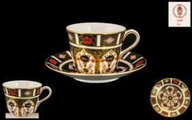 Royal Crown Derby Imari Pattern 22ct Gold Banded Cup and Saucer. Pattern No 1128 & Date 1978.