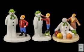 Coalport Collection of Hand Painted First Edition Bone China Snowman and James Figures ( 3 ) In