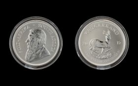 South Africa Silver Krugerrand - Date 2017. Purity 1oz of Fine Silver .999.