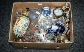 Box Lot of Miscellaneous Art Pottery, Glassware, Nao figures, Staffordshire figures, clock works