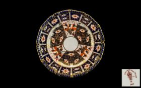 """Crown Derby Plate - Strawberry pattern, with cigar band pattern to the borders. 8"""" diameter."""