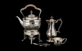 Silver Plate Teapot on stand with spirit burner below plus plate coffee pot,