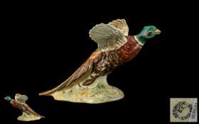 Beswick - Hand Painted Bird Figure ' Pheasant on Base ' Flying Upwards. Model No 849. Designer A.