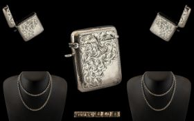 Victorian Period Sterling Silver Vesta Case. Hallmark Birmingham 1900, Makers Mark T.H.