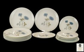 A Collection of Wedgwood Bone China 'Ice Rose' design Dinner Ware comprising of 9 dinner plates,