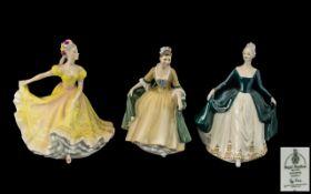 "Three Royal Doulton Figures, comprising 'Ninette' HN 2379, 9"" tall'; 'Elegance' HN 2254,"