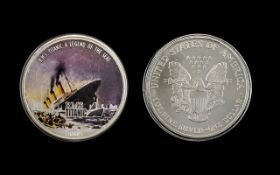 United States of America Silver Dollar ( Enamelled ) Date 2005. R.M.S.Titanic - Legend of The Seas.