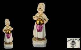 Royal Worcester Hand Painted Porcelain Figure ( Early ) ' Polly Put The Kettle On ' RW.3303.