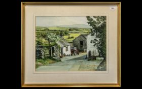 Water Colour Drawing of Fell End Farm Hale, signed D Akeyue with signpost to Hale-Moss and Holme.