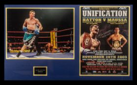 Boxing Interest - Framed Photograph of Ricky 'Hitman' Hatton with signed poster from the