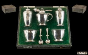 A Fine Quality Boxed ( 7 ) Piece Sterling Silver Cruet Set of Excellent Design.