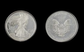 United States of America Liberty Silver Dollar - Date 2000. Proof Like Coin, 1 oz of Fine Silver .
